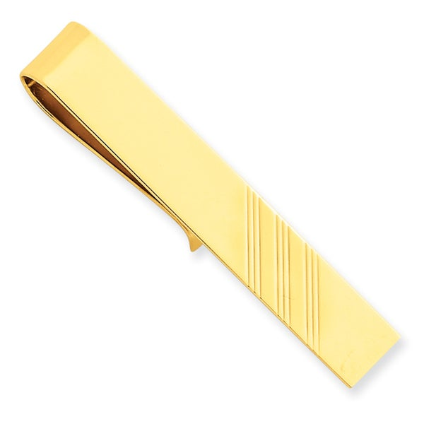 14k Yellow Gold Triple Line Tie Bar