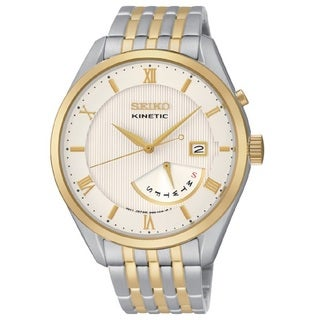 Seiko Men's SRN056 Stainless Steel Kinetic Two Tone Watch with a White Dial and Power Reserve