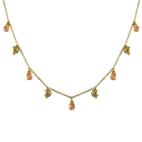 Gold Finish Champagne Cubic Zirconia Ball Necklace