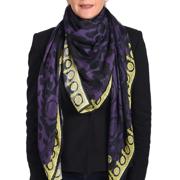 Versace Modal Cashmere Black/ Purple Printed Scarf