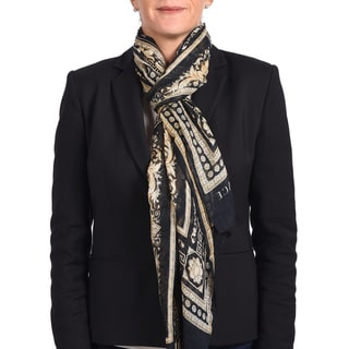 Versace Modal Cashmere Black/ Gold Printed Scarf