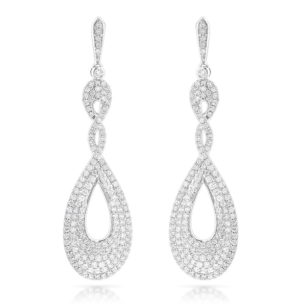 Luxurman 14k White Gold 3 1/2ct TDW Diamond Drop Swirl Earrings (G-H, VS-SI)