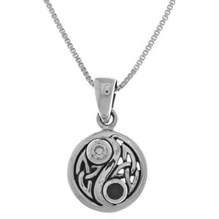 Carolina Glamour Collection Sterling Silver Cubic Zirconia Celtic Yin Yang Pendant