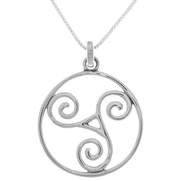 Carolina Glamour Collection Sterling Silver Large Celtic Triskele Spiral Pendant