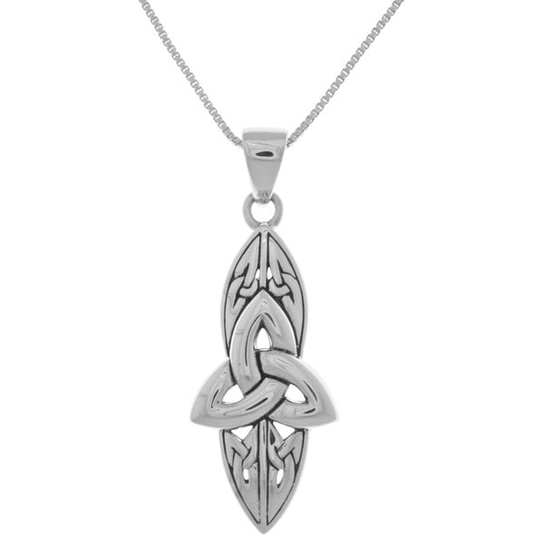 Carolina Glamour Collection Sterling Silver Long Celtic Trinity Knot Pendant
