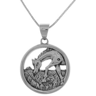 Carolina Glamour Collection Sterling Silver Horse Grazing Scene Pendant on 18-inch Box Chain Necklace