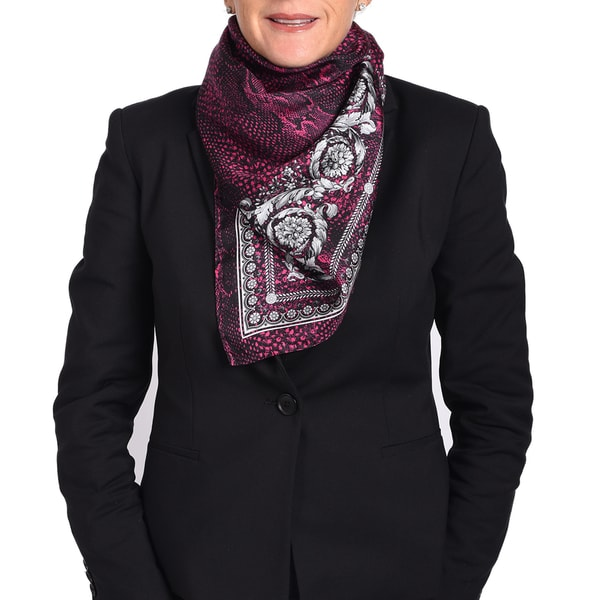 Versace Silk Hot Pink / Black Printed Silk Scarf