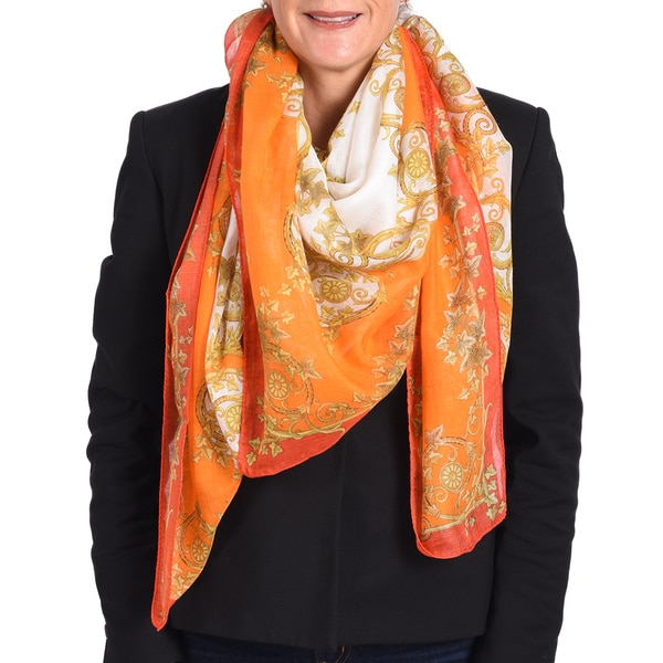 Versace Modal Cashmere Orange/ White Printed Scarf