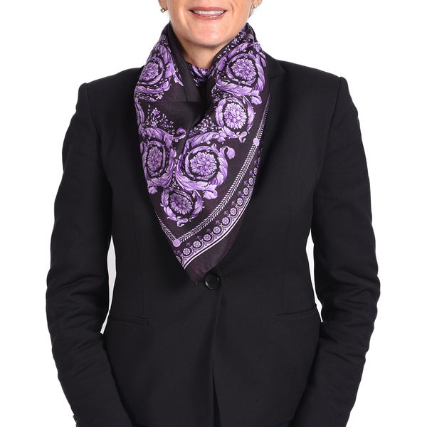 Versace Silk Purple Printed Silk Scarf