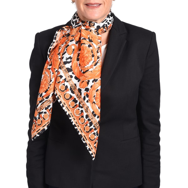 Versace Silk Orange/ White Printed Silk Scarf