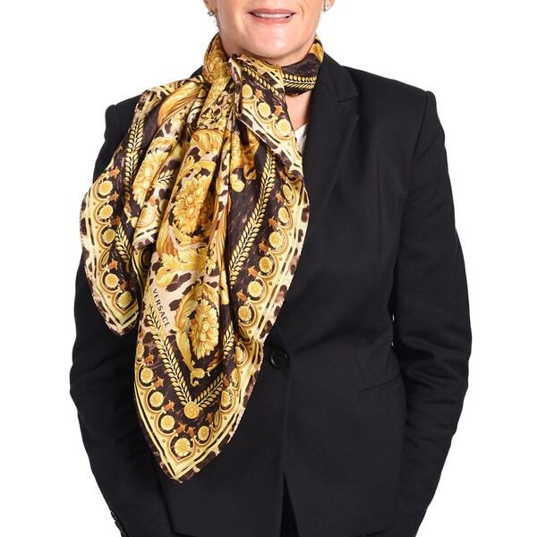 Versace Silk Brown/ Gold Printed Silk Scarf