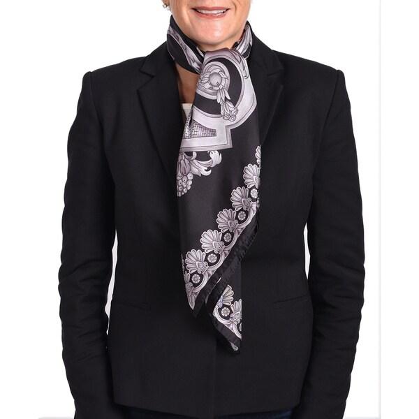 Versace Silk Black/ Violet Printed Silk Scarf