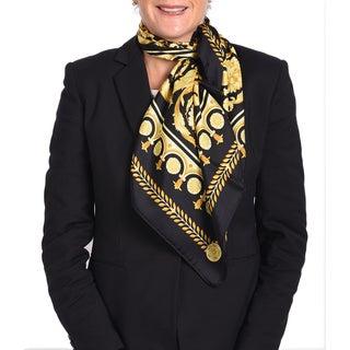 Versace Silk Black/ Gold Printed Silk Scarf
