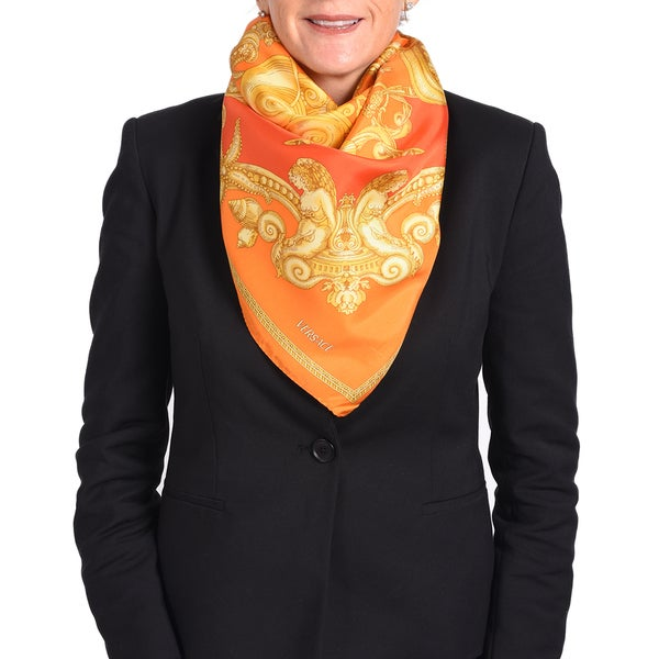 Versace Silk Orange/ Red Printed Silk Scarf