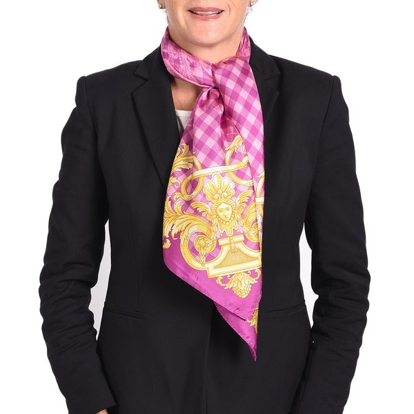 Versace Silk Purple/ Pink Printed Silk Scarf