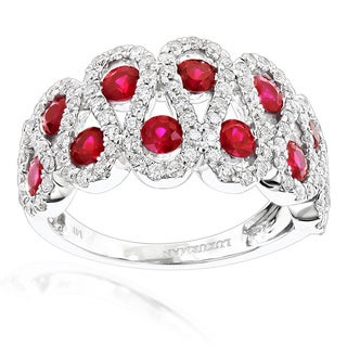 Luxurman 14k White Gold Ruby and 1ct TDW Diamond Cocktail Ring (G-H, VS-SI )