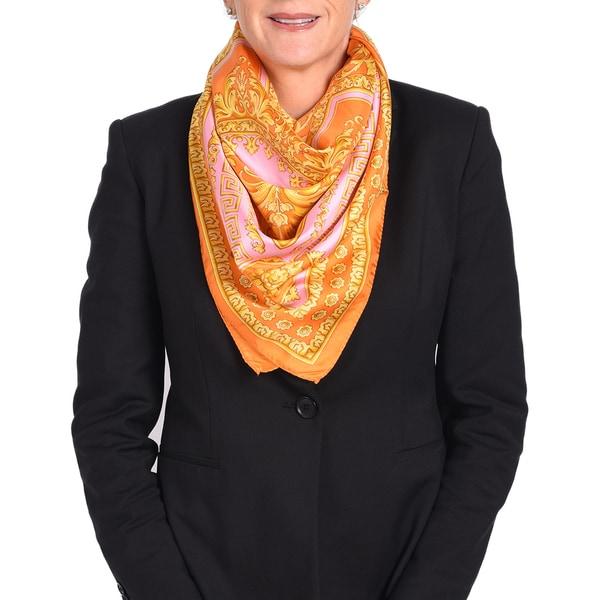 Versace Silk Orange/ Pink Printed Silk Scarf