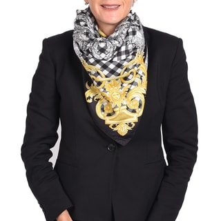Versace Silk Black/ White/ Gold Check Printed Silk Scarf