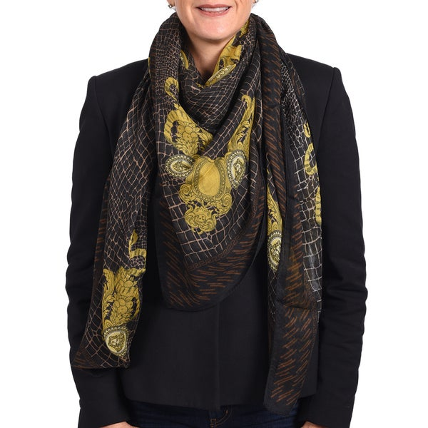 Versace Modal Cashmere Brown/ Black Printed Scarf