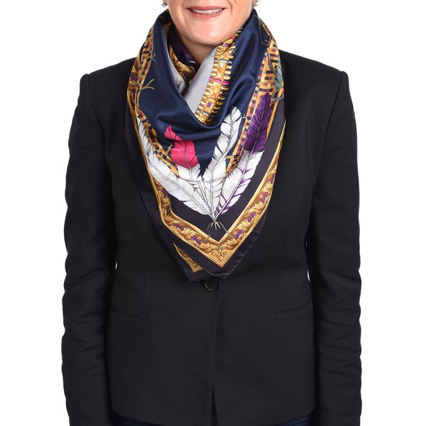 Versace Silk Multi-color Navy Printed Silk Scarf