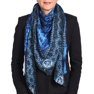 Versace Modal Cashmere Blue Printed Scarf