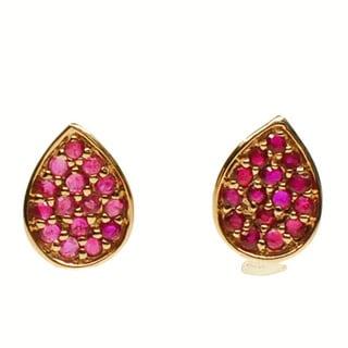 Kabella 14K Rose Gold Ruby Pear-shaped Stud Earrings
