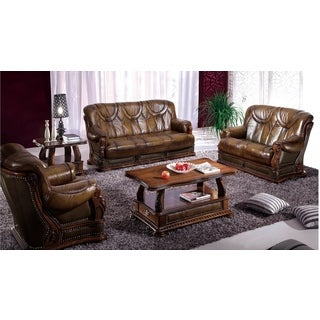 Luca Home Sofa Bed/Love/Chair Distressed Brown Set