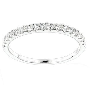 Luxurman 14k White Gold 3/8ct TDW Diamond Wedding Band (G-H, VS-SI )