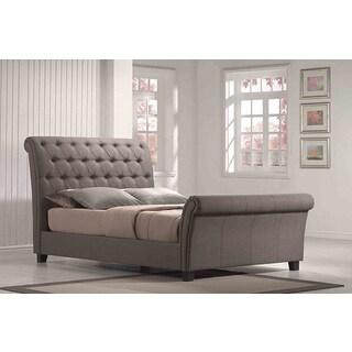 Linen Tufted Upholstered Sleighbed
