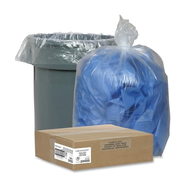 Nature Saver Clear Recycled Trash Can Liner - (100/Carton)