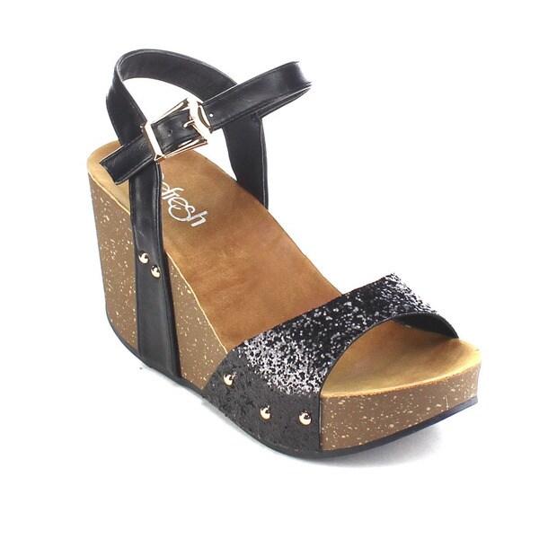 Beston AB25 Women's Glitter Wedge Sandals