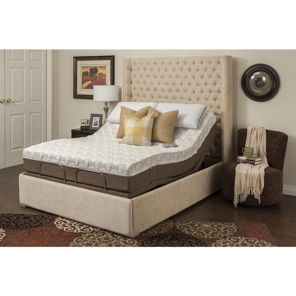 Blissful Nights Dahlia 11-inch Twin XL-size Memory Foam Mattress and Adjustable Base
