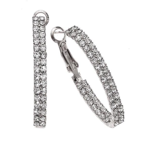 Isla Simone - 40mm Small Twin Row Oval inside out Earring