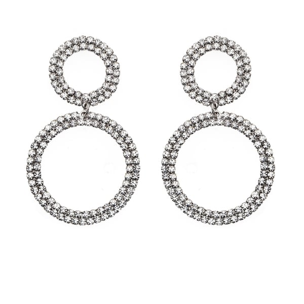 Isla Simone - Bi-level Circle Crystal Earrings