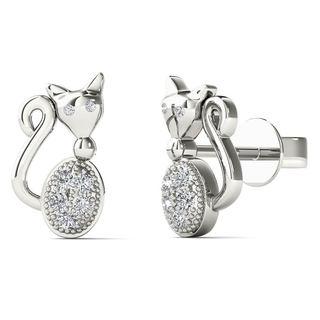 10k White Gold Diamond Accent Cute Cat Stud Earrings (H-I, I1-I2)