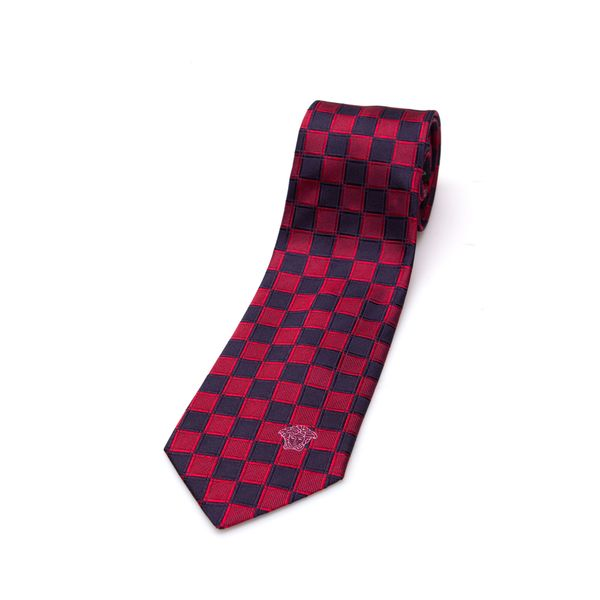Versace Collection Men's Red/ Navy Check Slim Silk Tie