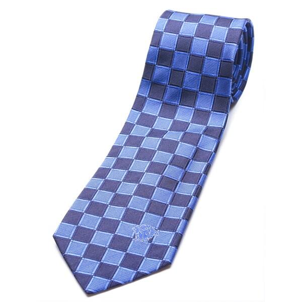 Versace Collection Men's Slim Blue/ Navy Check Silk Tie