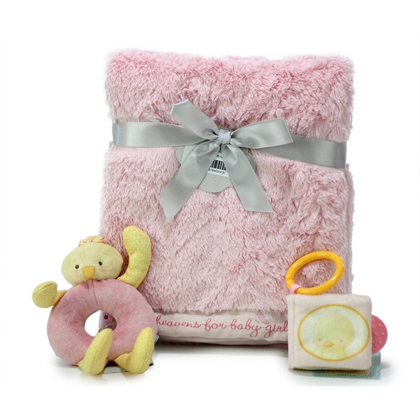 Nurture Luxury Baby Girl Blanket and Toys Gift Set