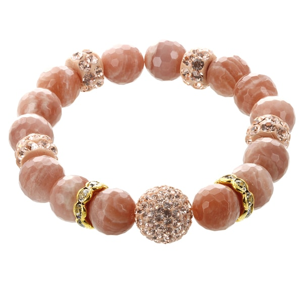 Fox and Baubles Peach Moonstone with Champagne and White Crsystal Beads Stretch Bracelet