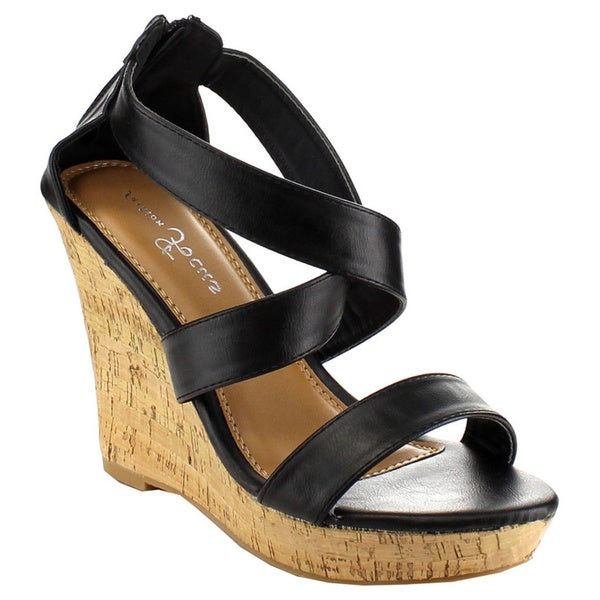 Beston EA82 Womens Platform Cork Wedges