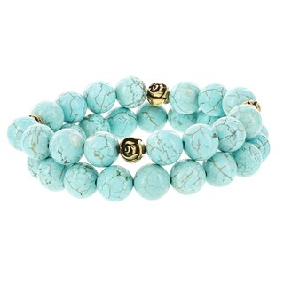 Fox and Baubles Turquoise and Goldtone Rose Beads Stretch Bracelets (Set of 2)