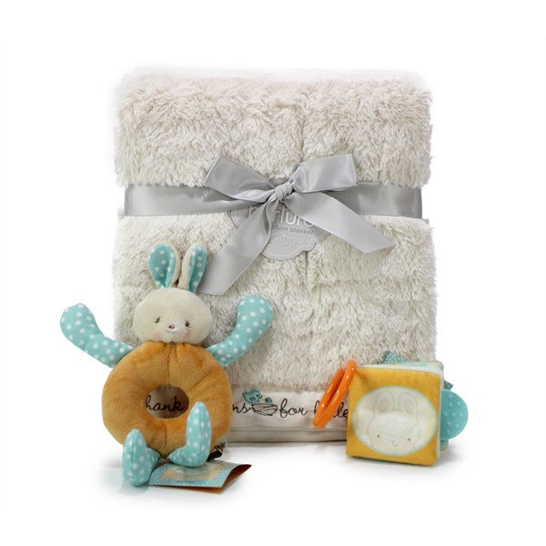 Nurture Luxury Neutral Baby Blanket and Toys Gift Set