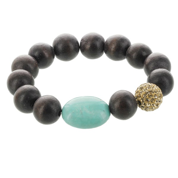Fox and Baubles Wood, Turquoise, and Champagne Crystal Stretch Bracelet