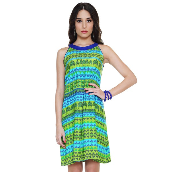 Global Desi Women's Boho Horizontal Multi-print Dress (India) Large Size in Green (As Is Item)
