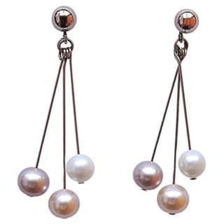 Mauve Peach White Sea Pearl Dangling Earrings