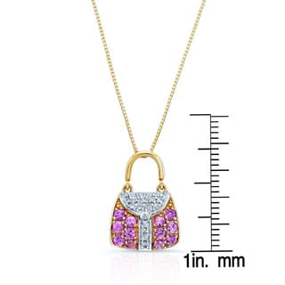 14k Yellow Gold Pink Sapphire and 1/10ct TDW Diamond Purse Necklace (H-I, SI1-2)