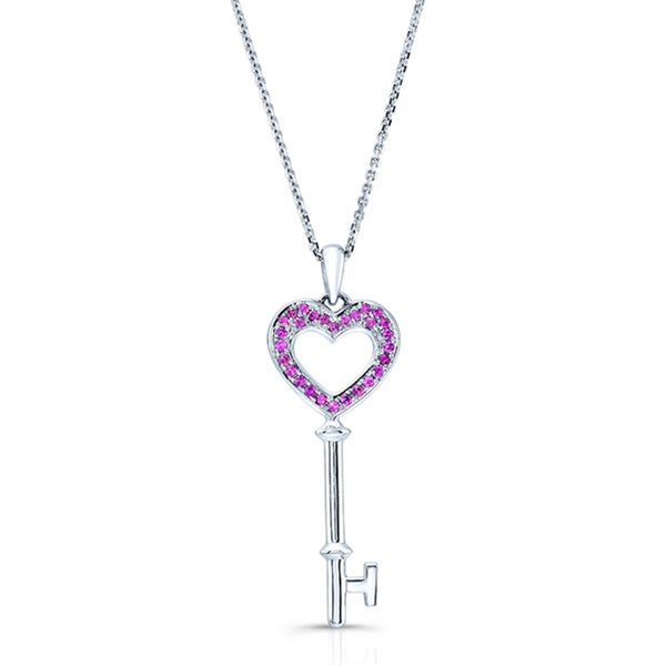 14k White Gold Pink Sapphire Heart Shaped Key Pendant