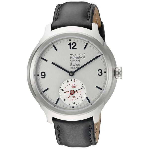 Mondaine Men's MH1B2S80LB 'Helvetica No. 1 Smartwatch' Black Leather Watch