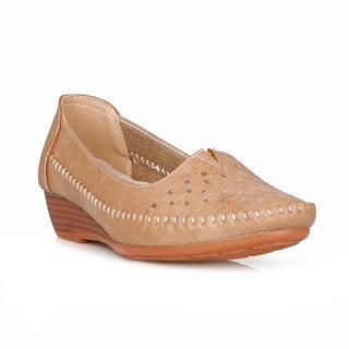 Com Feite Cuba-03 Metallic Design Women's Mini Wedge Flat