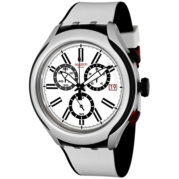 Swatch Men's YYS4005 Black Wheel Round White Silicone Strap Watch